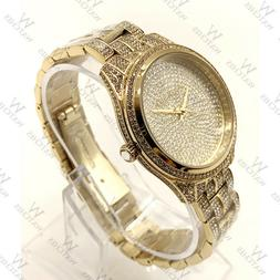 100% New Michael Kors MK3930 Lauryn Gold Dial Stainless Stee