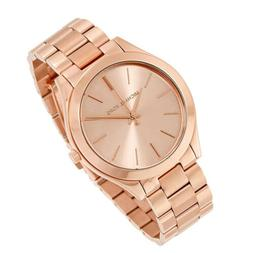 100% New Michael Kors Slim Runway Rose Gold Tone Women Ladie