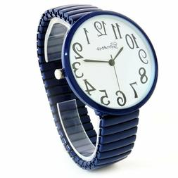 20108 Navy Blue Super Large Face Stretch Band Fashion Watch