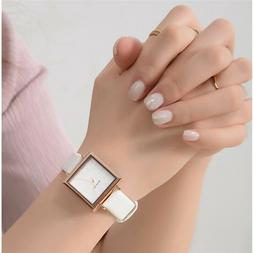 2020 Luxury Women Square Watch Leather Strap Band Quartz Ana