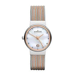 Skagen Women's 355SSRS Ancher Two Tone Silver and Rose Mesh