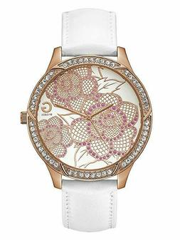 Guess 48mm Women's Watch White Leather Belt G94085L1