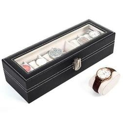6 Slot Men Women Leather Jewelry Watch Display Case Box Stor