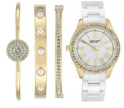 Anne Klein Crystals Mother of Pearl White Ceramic Women's Wa