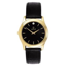 Bulova 97Y01 Gold-Tone Stainless Steel Black Leather Band Di