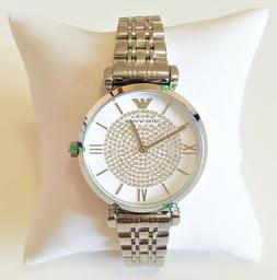 Emporio Armani Women's Watch Crystals on White Dial Silver B