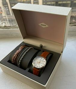 Fossil Abilene Chronograph Woman's Watch and Bracelets Gift