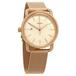 Fossil Women's The Commuter Rose Gold Mesh Metal Band Date W
