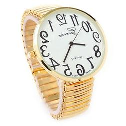 Gold Super Large Size Round Face Stretch Band Easy to Read G