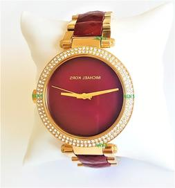 Michael Kors Watch Women's Gold Case Dark Red Band Garnet Pa