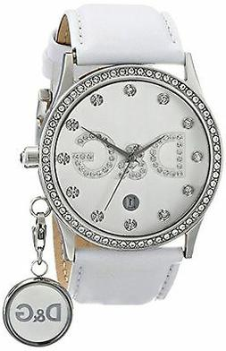 NEW Dolce & Gabbana DW0091 Women's Gloria White Leather Silv
