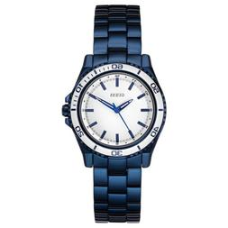 NEW GUESS WATCH Women * Shiny Polished Blue Steel Strap * Wh