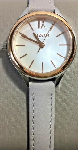 NWT Fossil MINI Women's Watch 2 Tone Case Gray Leather MOP 2