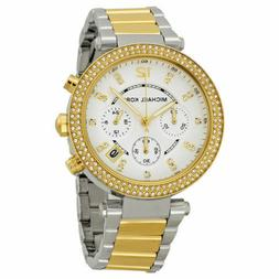 New Michael Kors Parker Two Tone Gold Silver Chronograph Wom
