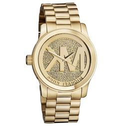 New Michael Kors Runway Gold Pave Stainless Crystal Logo MK5