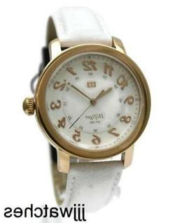 New Tommy Hilfiger Rose Gold Case White Leather Women Watch
