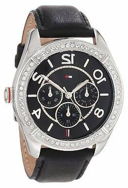 New Tommy Hilfiger Women Multi-Function Crystals Black Watch