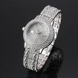 New Women Watch Stainless Steel Rhinestone Ceramic Crystal Q