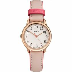 Timex TW2R62800 Women's Rose Gold Tone Easy Reader Pink Leat