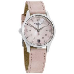 Victorinox Alliance Pink Mother of Pearl Dial Leather Strap