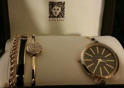 Anne Klein Women's AK/1470GBST Gold-Tone Watch and Bracelet