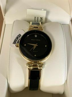 Anne Klein® Black and Goldtone Diamond Dial Watch