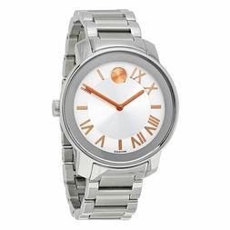 MOVADO Bold 3600196 Silver Dial Rose Gold-Tone Hands Stainle