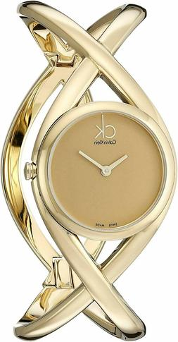 CALVIN KLEIN Women's ENLACE K2L23509 Gold Plated Swiss Made