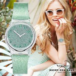 Casual Fashion Women Plastic Band Quartz Analog Wrist Transp