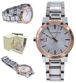 Burberry Large Check Stamped Bracelet Watch, 38mm - Rosegold