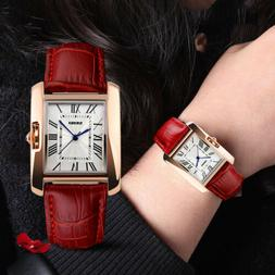Classic Lady's Women's Female's Roman Numerals Leather Analo