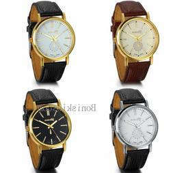 Classic Mens Womens Luxury Leather Band Gold Tone Dial Analo