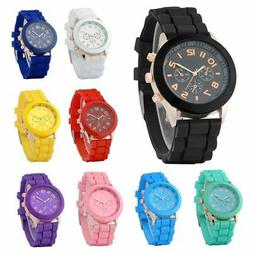 Colorful Unisex Men Women Silicone Jelly Quartz Analog Sport