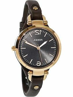 Fossil Women's ES3077 Georgia Smoke Leather and Rose Gold-To