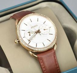 Fossil ES4422 Tailor Crystal Silver Dial Brown Leather Ladie