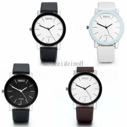 fashion leather band stainless steel sport analog