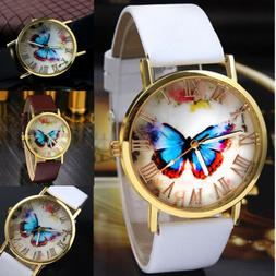 Fashion Women Casual Butterfly Watches Leather Analog Quartz