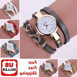 Fashion Women Faux Leather Crystal Bracelet Ladies Quartz An