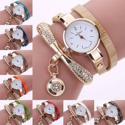 Fashion Women Ladies PU Leather Rhinestone Analog Quartz Wri