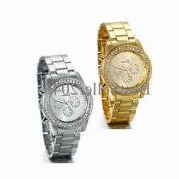 Fashion Women Lady Luxury Stainless Steel Band Bling Analog