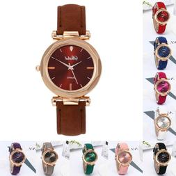 Fashion Women Leather Casual Watch Luxury Analog Quartz Crys