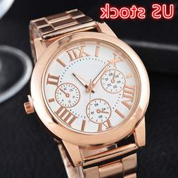 Fashion Women Roman Numbers Quartz Analog Alloy Gold Plated