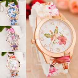 Fashion Women's Watch Silicone Printed Flower Causal Quartz