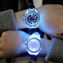 Fashion Women Wrist Watch Sport Waterproof Geneva LED Backli