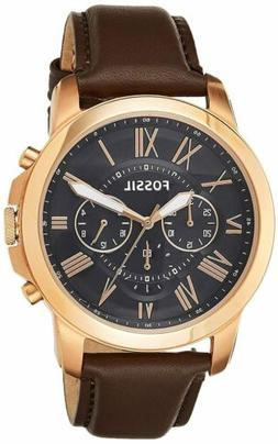 Fossil Men's Grant Quartz Stainless Steel and Leather Chrono