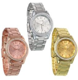 Geneva Women Ladies Crystal Stainless Steel Band Analog Quar