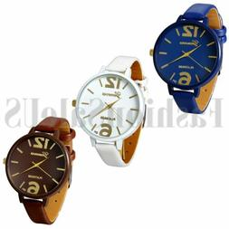 Geneva Women Watches Large Digital Leather Analog Quartz Vog