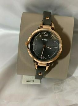 Fossil Georgia Smoke Leather Watch MSRP $129 ES3077