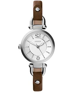 Fossil® Women's Georgia Watch In Silvertone With Brown D