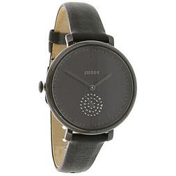 jacqueline three hand black leather watch black